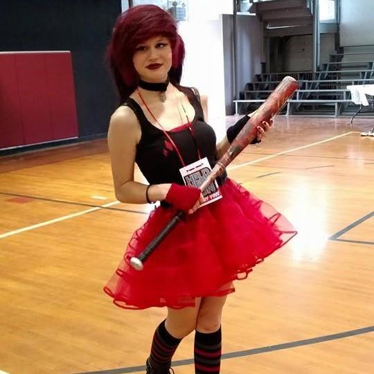 Cosplaying Harley Quinn.