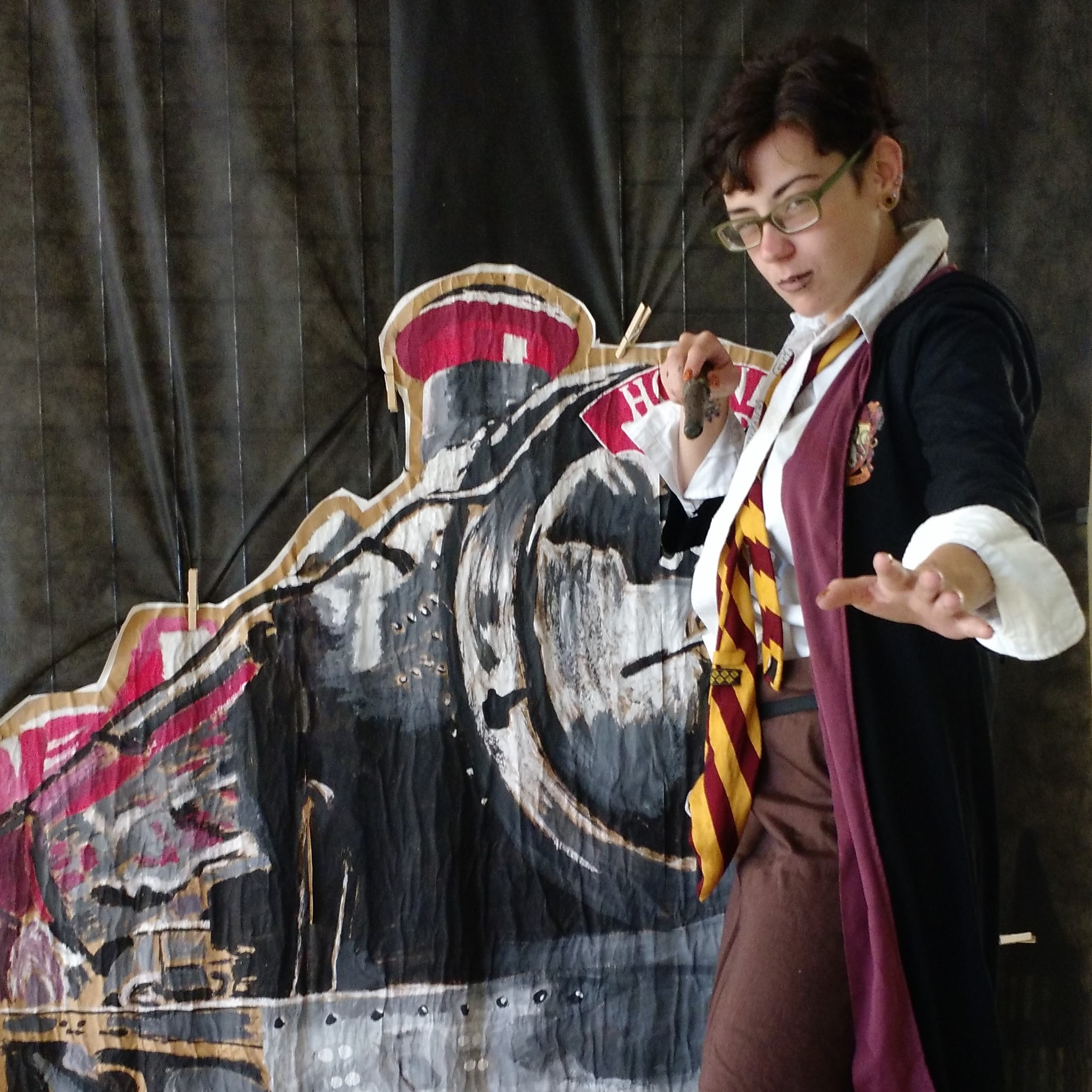 Cosplaying a character from Harry Potter.