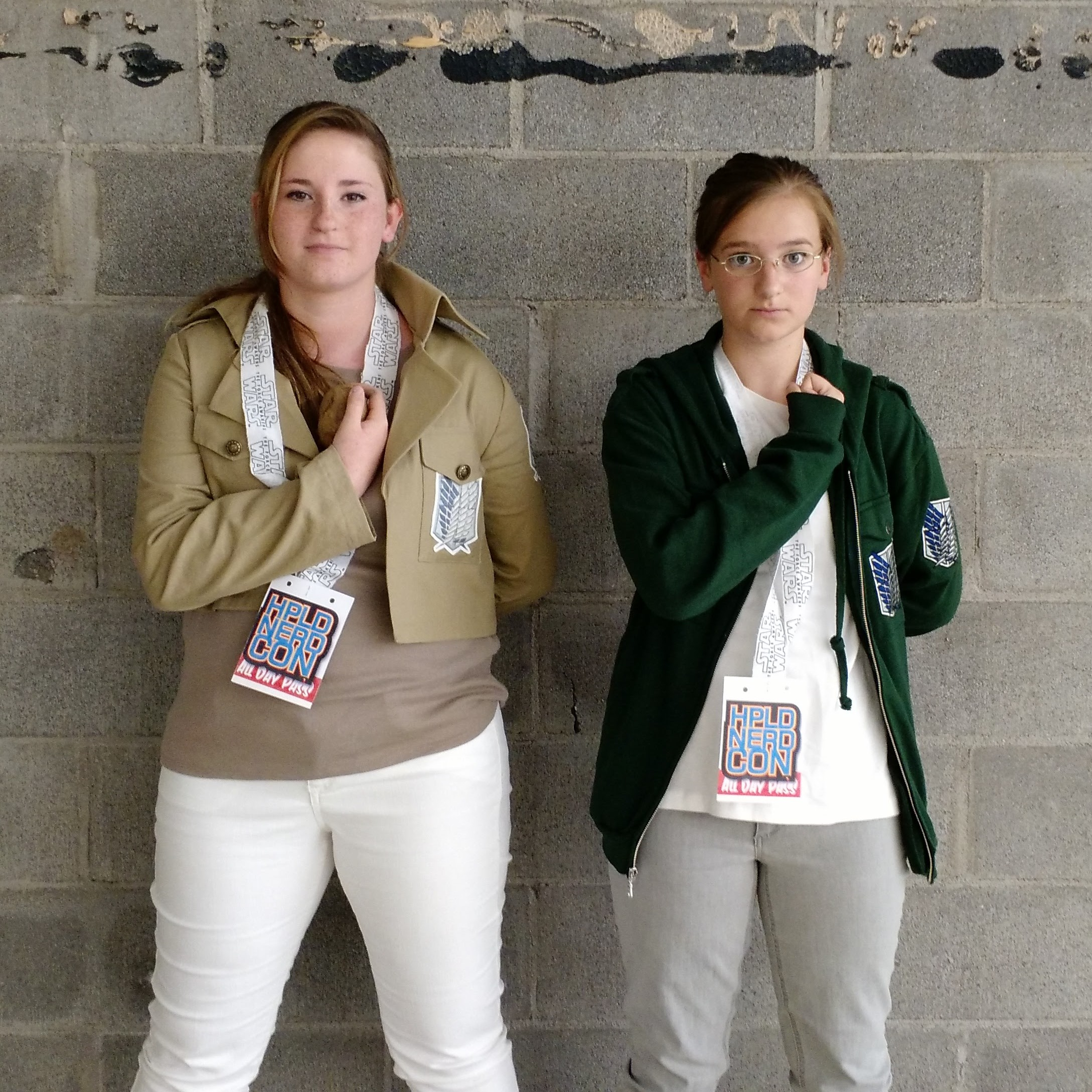 Cosplaying characters from Attack on Titan.